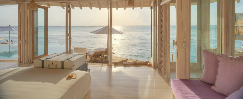 Soneva Jani Luxury Resort - Noonu Atoll, Medhufaru, Maldives - 2 Bedroom Water Retreat Villa Bedroom Sunset View