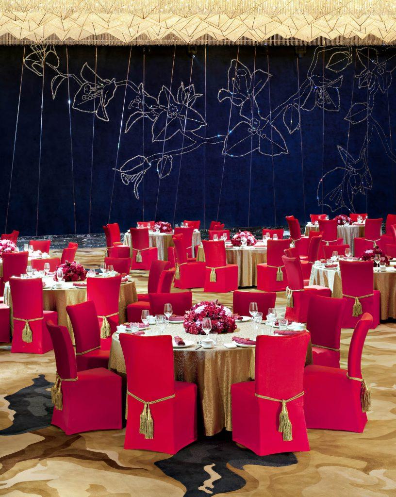 The St. Regis Shenzhen Luxury Hotel - Shenzhen, China - Ballroom Dinner Setup