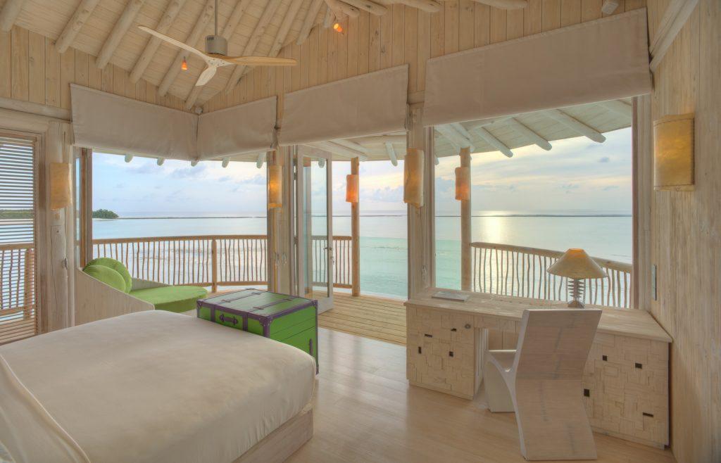Soneva Jani Luxury Resort - Noonu Atoll, Medhufaru, Maldives - 2 Bedroom Water Retreat Villa Bedroom View Dusk