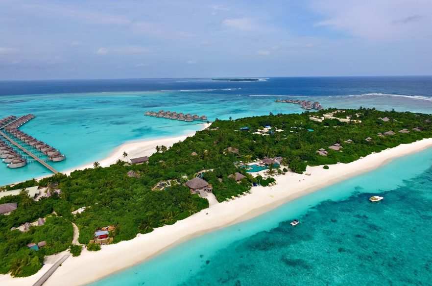 Six Senses Laamu Luxury Resort - Laamu Atoll, Maldives - Private Resort White Sand Beach Aerial