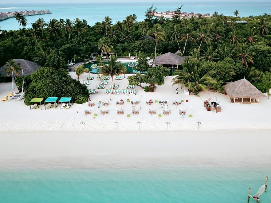 Six Senses Laamu Luxury Resort - Laamu Atoll, Maldives - Private Resort Beachfront Pool Aerial
