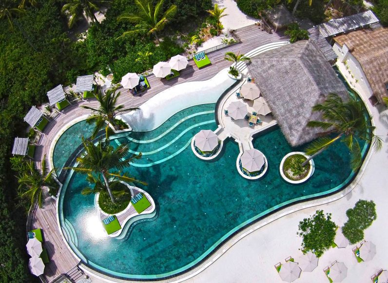 Six Senses Laamu Luxury Resort - Laamu Atoll, Maldives - Resort Private Pool Aerial