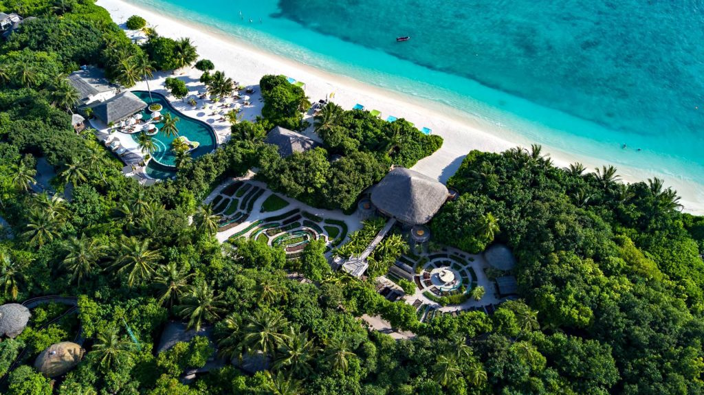 Six Senses Laamu Luxury Resort - Laamu Atoll, Maldives - Resort Pool and The Chili Table Aerial View