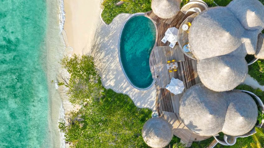 The Nautilus Maldives Luxury Resort - Thiladhoo Island, Maldives - Private Beachfront Residence Aerial
