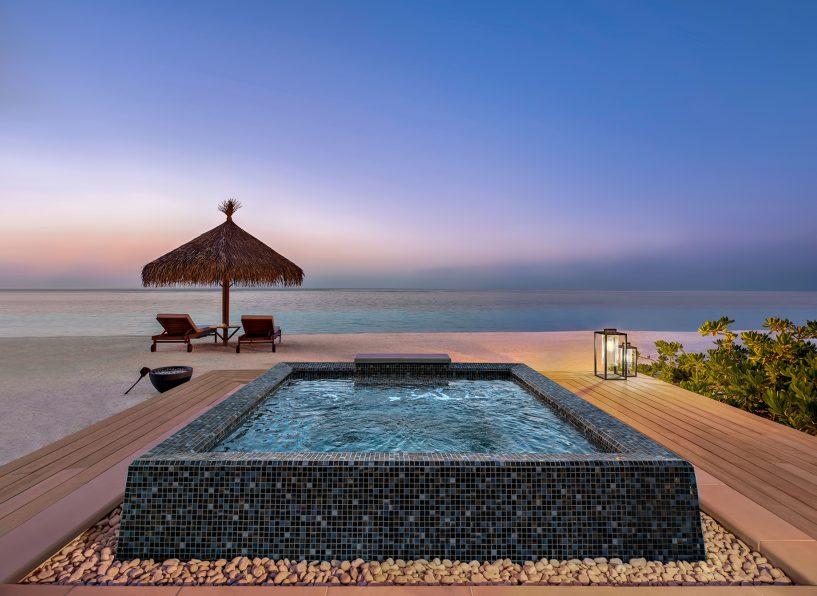 Waldorf Astoria Maldives Ithaafushi Luxury Resort - Ithaafushi Island, Maldives - Beachfront Jacuzzi at Dusk