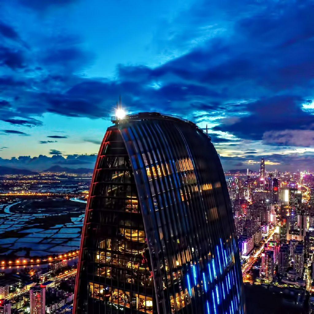 The St. Regis Shenzhen Luxury Hotel - Shenzhen, China - Night Tower View