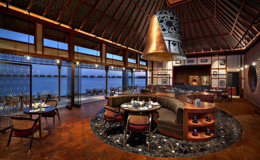 Waldorf Astoria Maldives Ithaafushi Luxury Resort - Ithaafushi Island, Maldives - Li Long Restaurant Interior Dusk