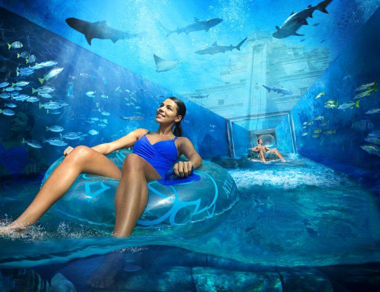 Atlantis The Palm Luxury Resort - Crescent Rd, Dubai, UAE - Aquaventure Shark Attack Underwater Slide