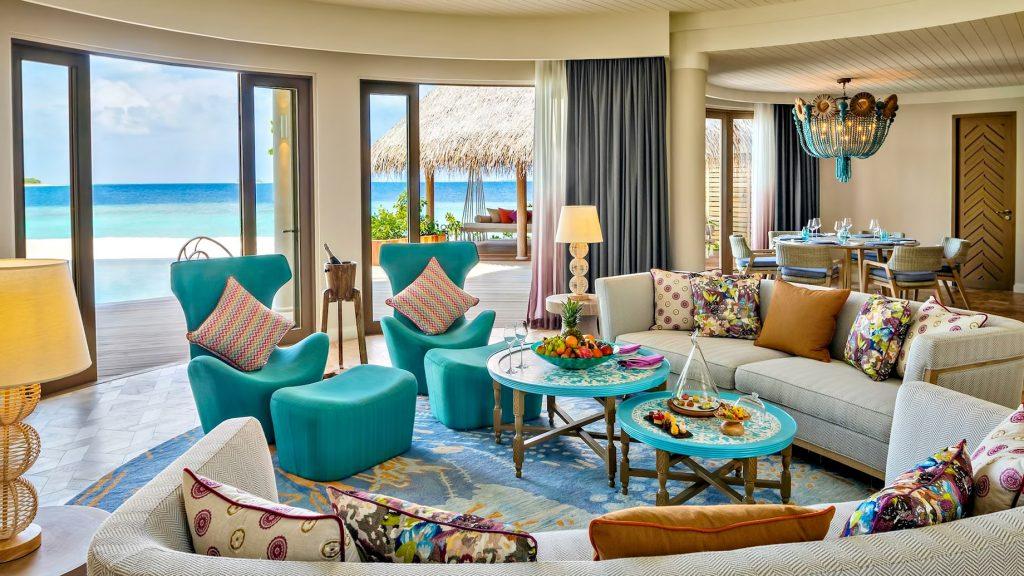 The Nautilus Maldives Luxury Resort - Thiladhoo Island, Maldives - Oceanfront Mansion Living Room