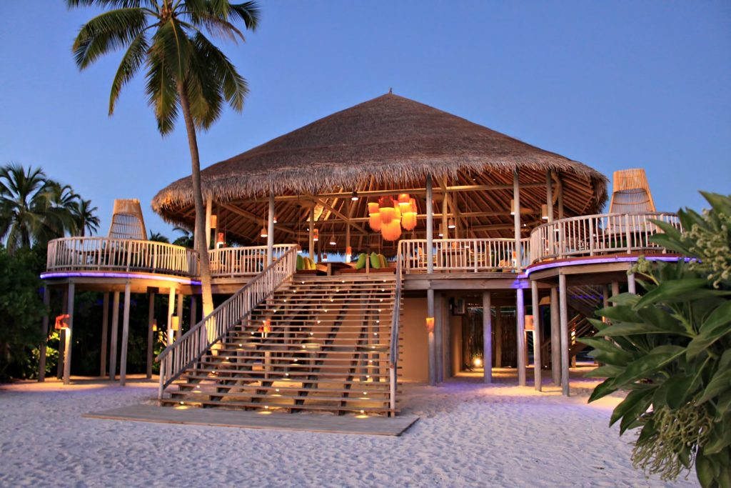 Six Senses Laamu Luxury Resort - Laamu Atoll, Maldives - Leaf Restaurant Exterior Dusk
