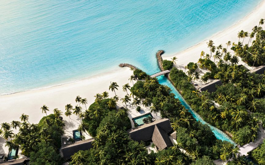 One&Only Reethi Rah Luxury Resort - North Male Atoll, Maldives - Private Island Canal Bridge Aerial