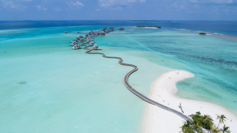 Soneva Jani Luxury Resort - Noonu Atoll, Medhufaru, Maldives - Overwater Villa Jetty Boardwalk Aerial
