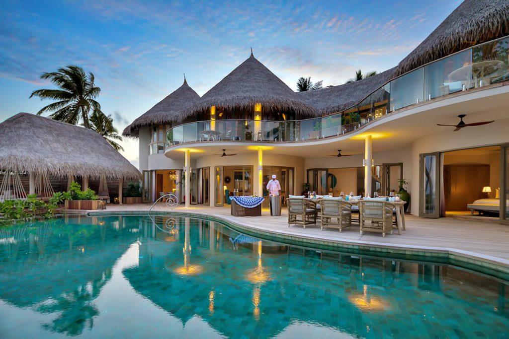 The Nautilus Maldives Luxury Resort - Thiladhoo Island, Maldives - Oceanfront Mansion Pool Deck Dining