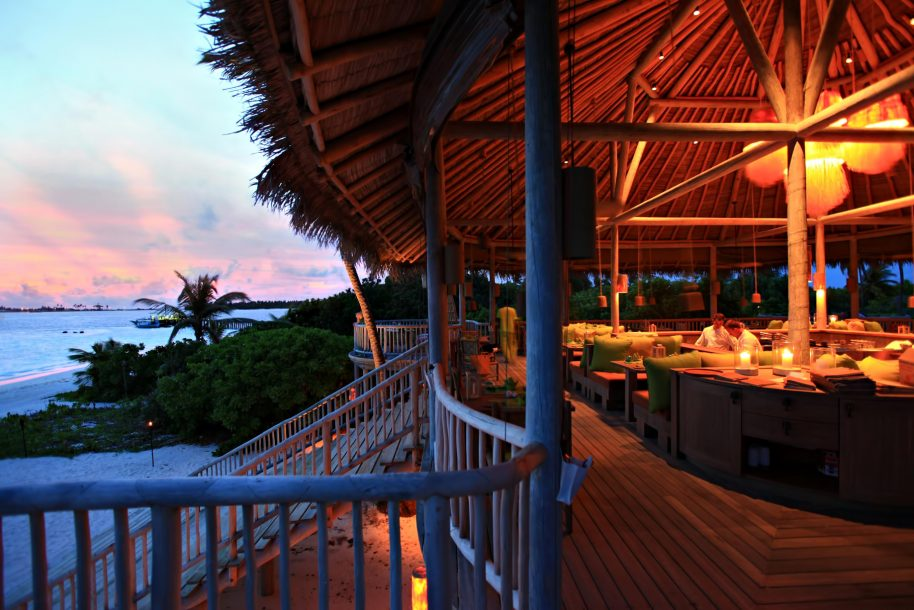 Six Senses Laamu Luxury Resort - Laamu Atoll, Maldives - Leaf Restaurant Sunset