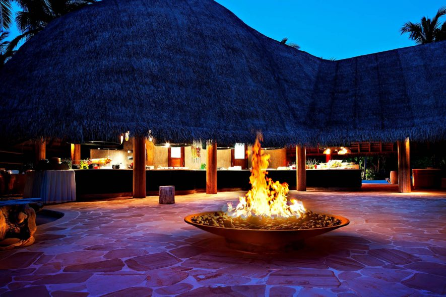 W Maldives Luxury Resort - Fesdu Island, Maldives - Restaurant Patio Night Fire