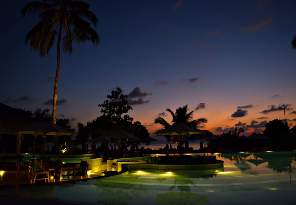 Six Senses Laamu Luxury Resort - Laamu Atoll, Maldives - Resort Pool Lounge Evening View