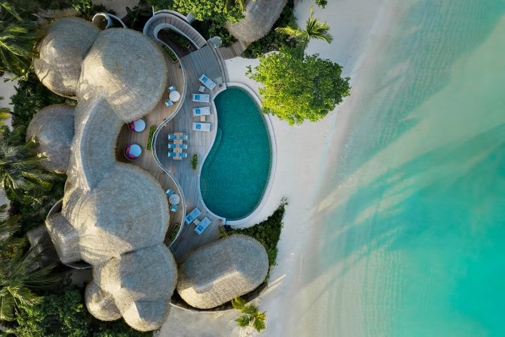 The Nautilus Maldives Luxury Resort - Thiladhoo Island, Maldives - Private Oceanfront Mansion Aerial