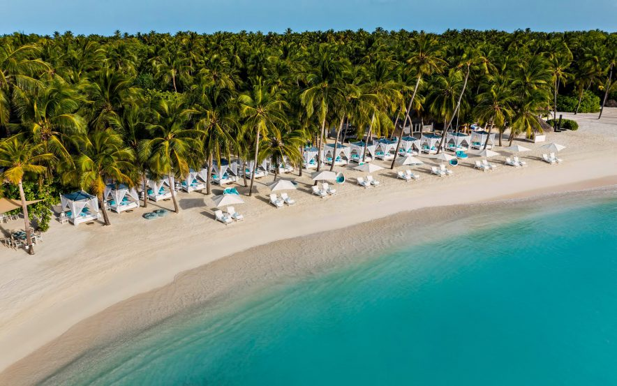 One&Only Reethi Rah Luxury Resort - North Male Atoll, Maldives - Beach Club Oceanfront Aerial