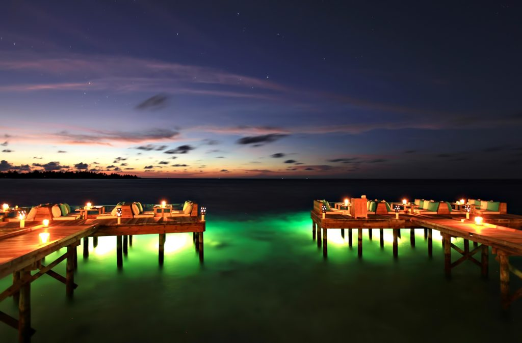 Six Senses Laamu Luxury Resort - Laamu Atoll, Maldives - Overwater Deck Lounge Evening View