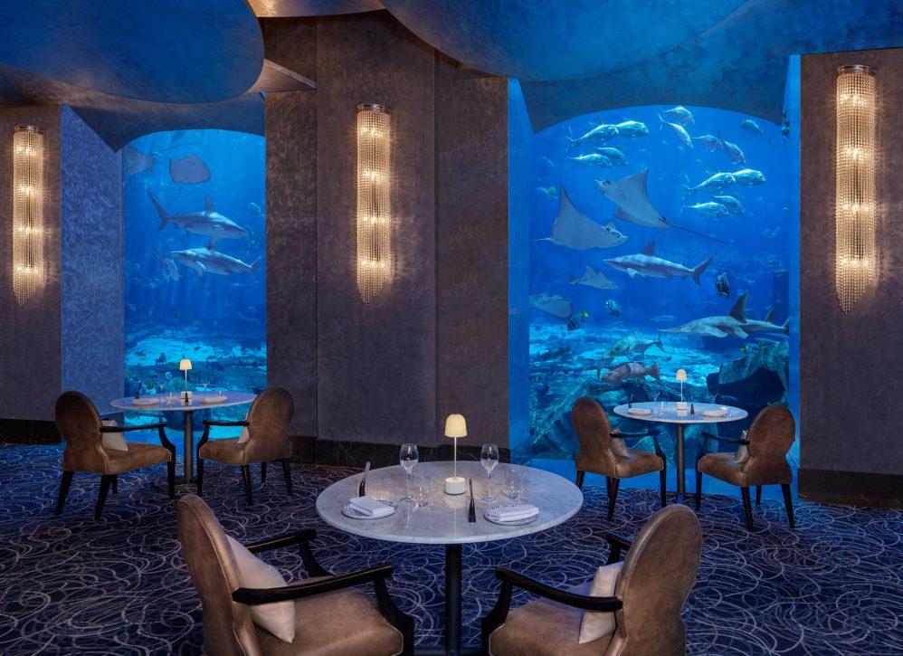 Atlantis The Palm Luxury Resort - Crescent Rd, Dubai, UAE - Ossiano Restaurant Underwater Aquarium View