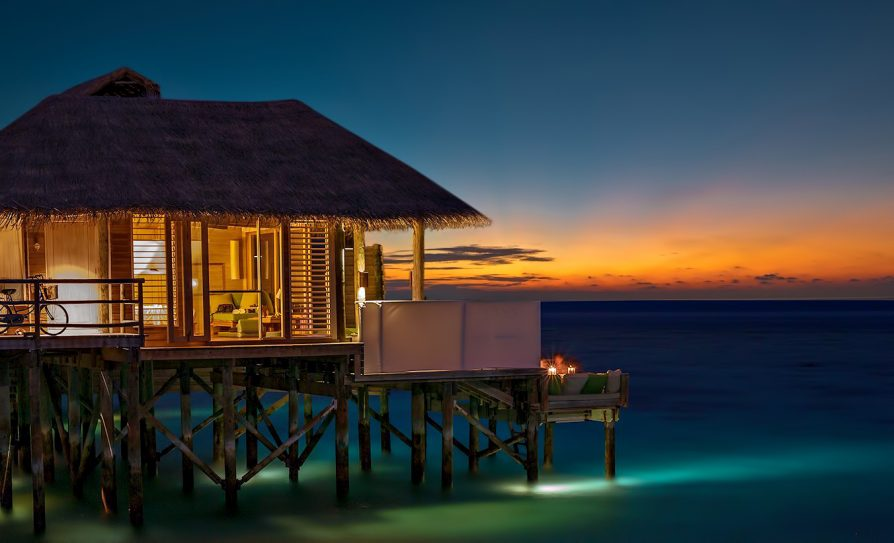 Six Senses Laamu Luxury Resort - Laamu Atoll, Maldives - Overwater Villa Evening View