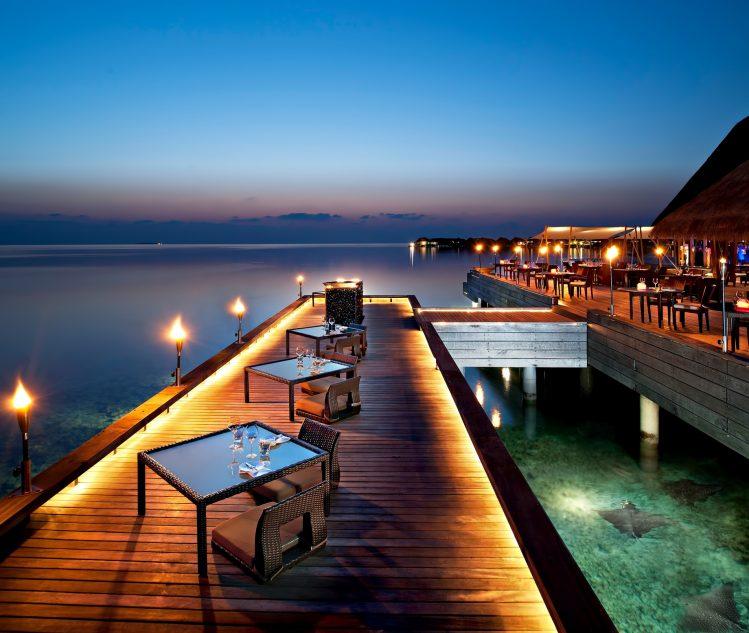 W Maldives Luxury Resort - Fesdu Island, Maldives - Overwater Restaurant Dining Night