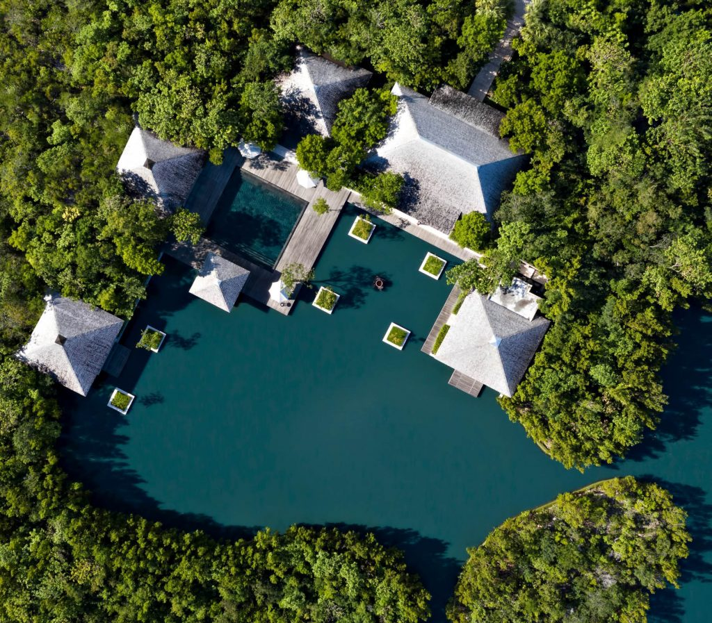 Amanyara Luxury Resort - Providenciales, Turks and Caicos Islands - Overhead Relecting Pond View
