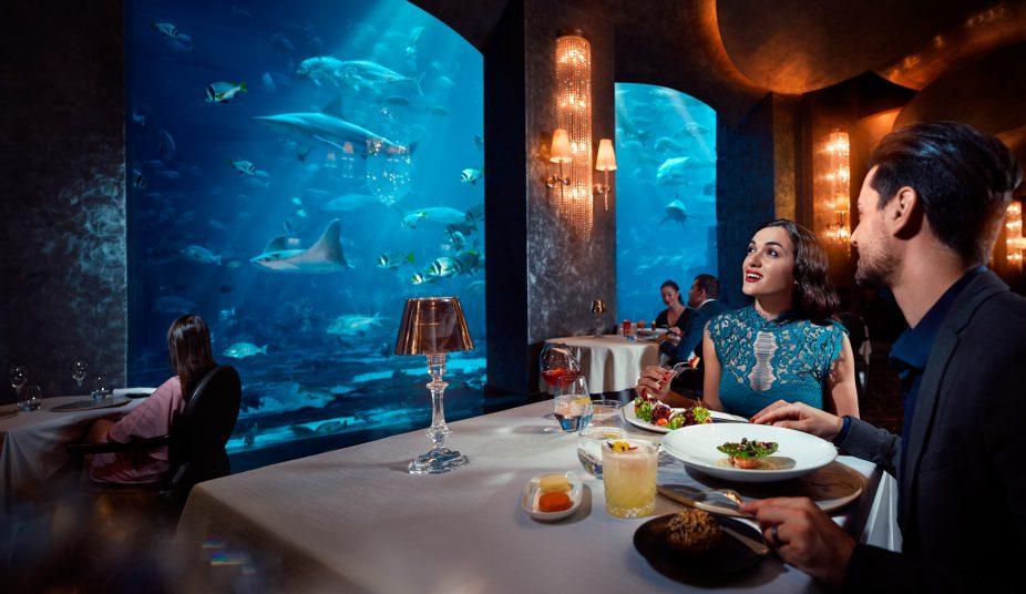 Atlantis The Palm Luxury Resort - Crescent Rd, Dubai, UAE - Ossiano Restaurant Dining Underwater Aquarium View