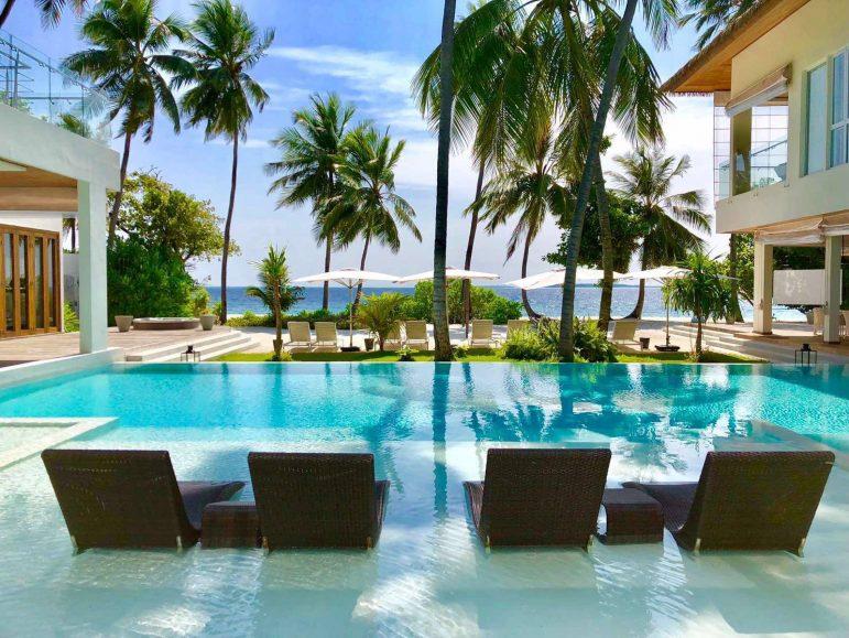 Amilla Fushi Luxury Resort and Residences - Baa Atoll, Maldives - Amilla Beach Estate Oceanfront Pool Water Chairs