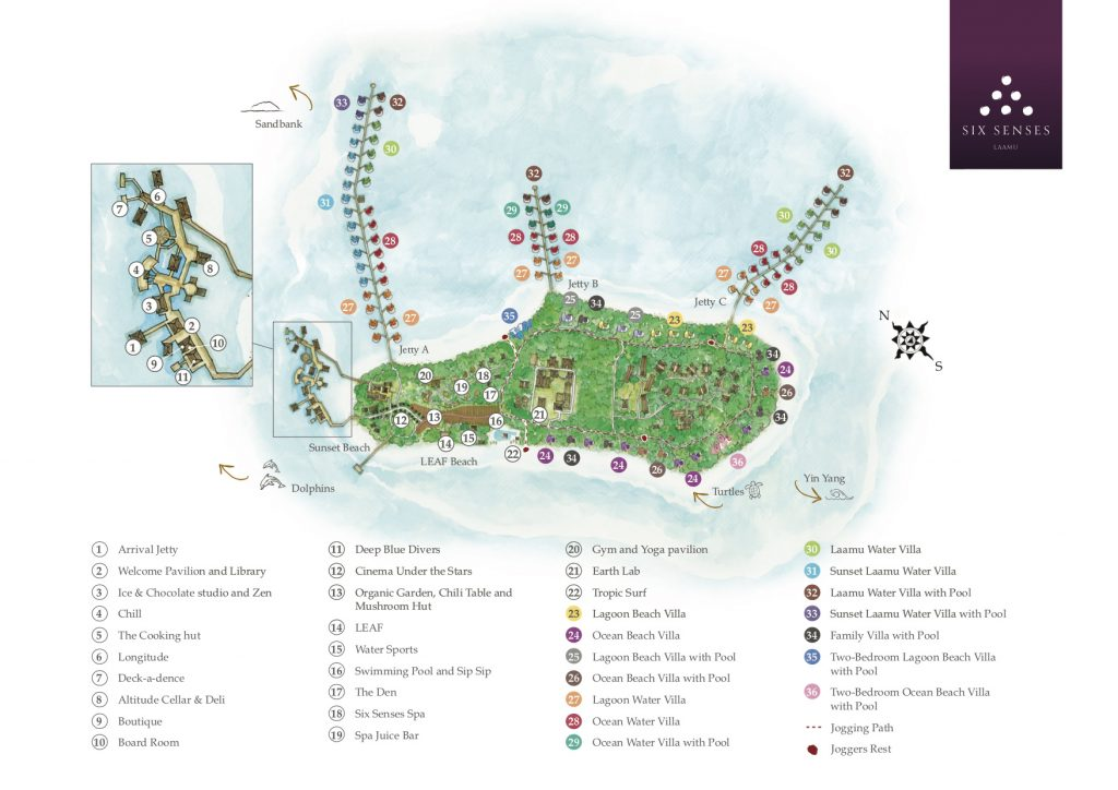 Map - Six Senses Laamu Luxury Resort - Laamu Atoll, Maldives