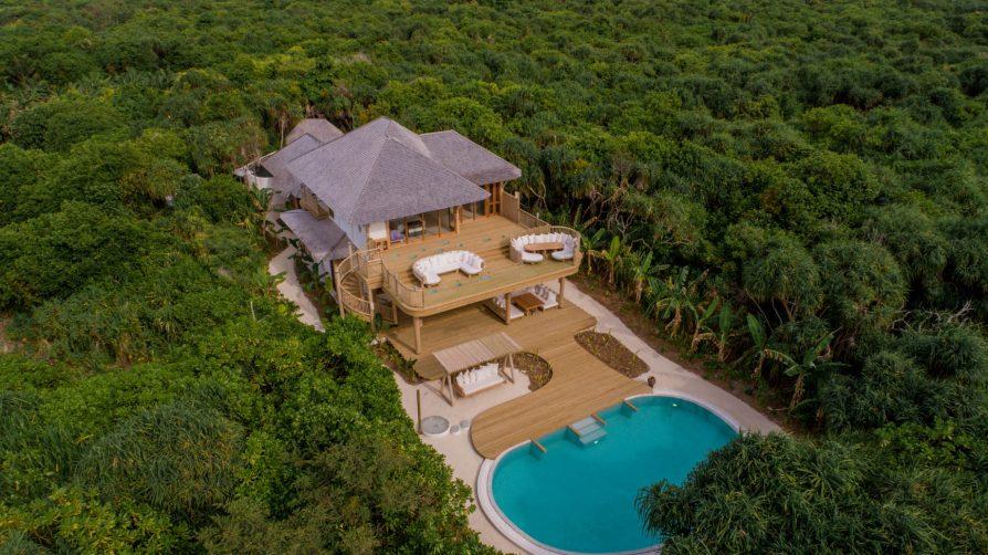 Soneva Jani Luxury Resort - Noonu Atoll, Medhufaru, Maldives - 2 Bedroom Crusoe Residence Island Villa Pool Aerial