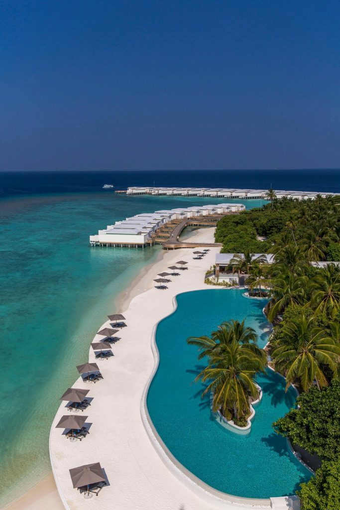 Amilla Fushi Luxury Resort and Residences - Baa Atoll, Maldives - Beachfront Pool Aerial