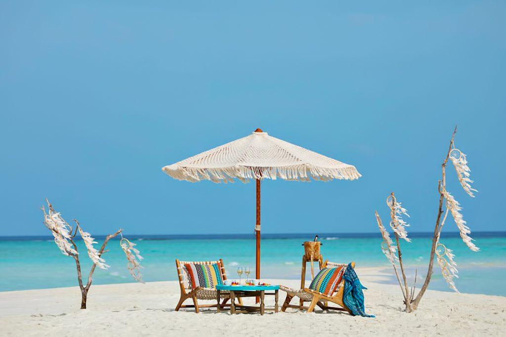 The Nautilus Maldives Luxury Resort - Thiladhoo Island, Maldives - White Sand Beach Umbrella