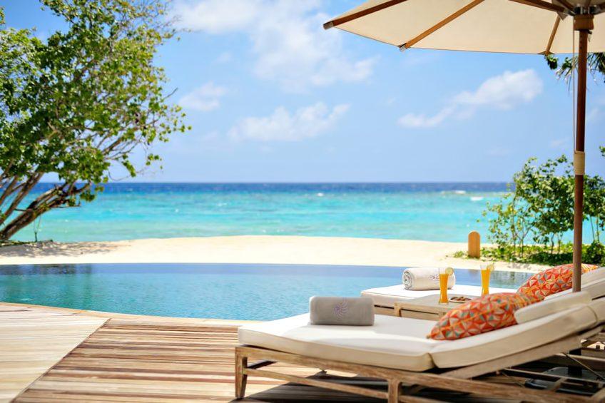 The Nautilus Maldives Luxury Resort - Thiladhoo Island, Maldives - White Sand Beach Pool Chairs