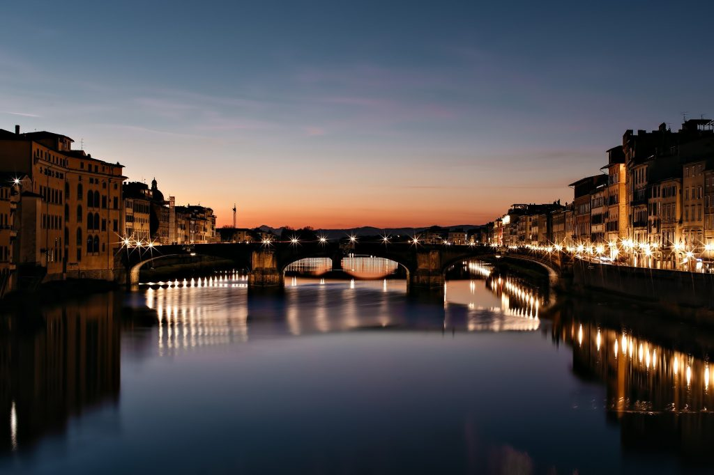 The St. Regis Florence Luxury Hotel - Florence, Italy - Arno River Bridge View at Night