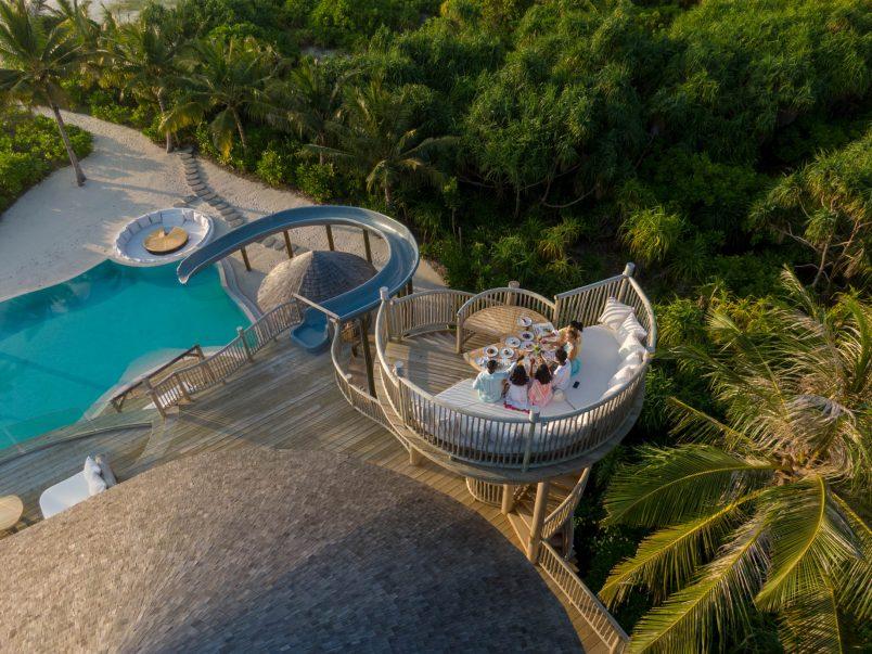 Soneva Jani Luxury Resort - Noonu Atoll, Medhufaru, Maldives - 3 Bedroom Island Reserve Villa Treetop Lounge Overhead Aerial