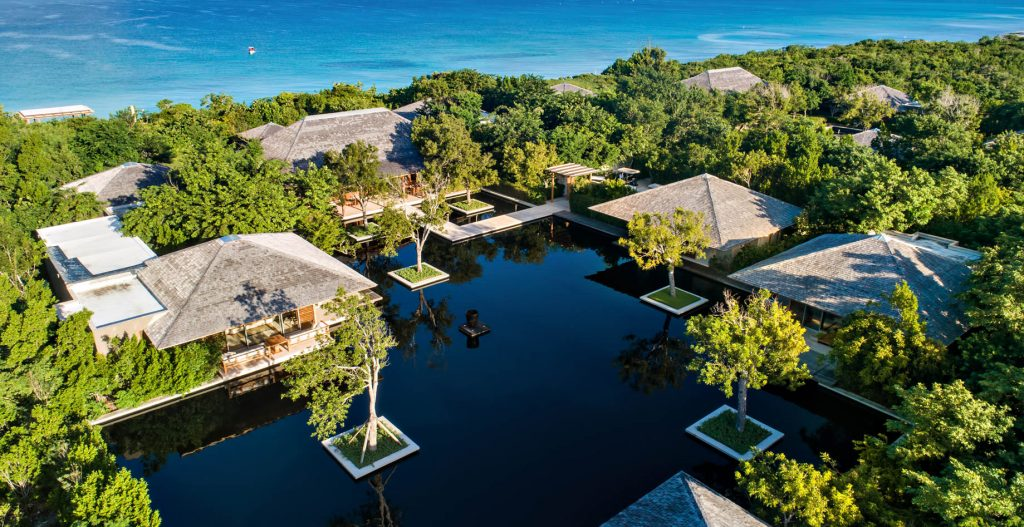 Amanyara Luxury Resort - Providenciales, Turks and Caicos Islands - Oceanside Reflecting Pond Aerial View