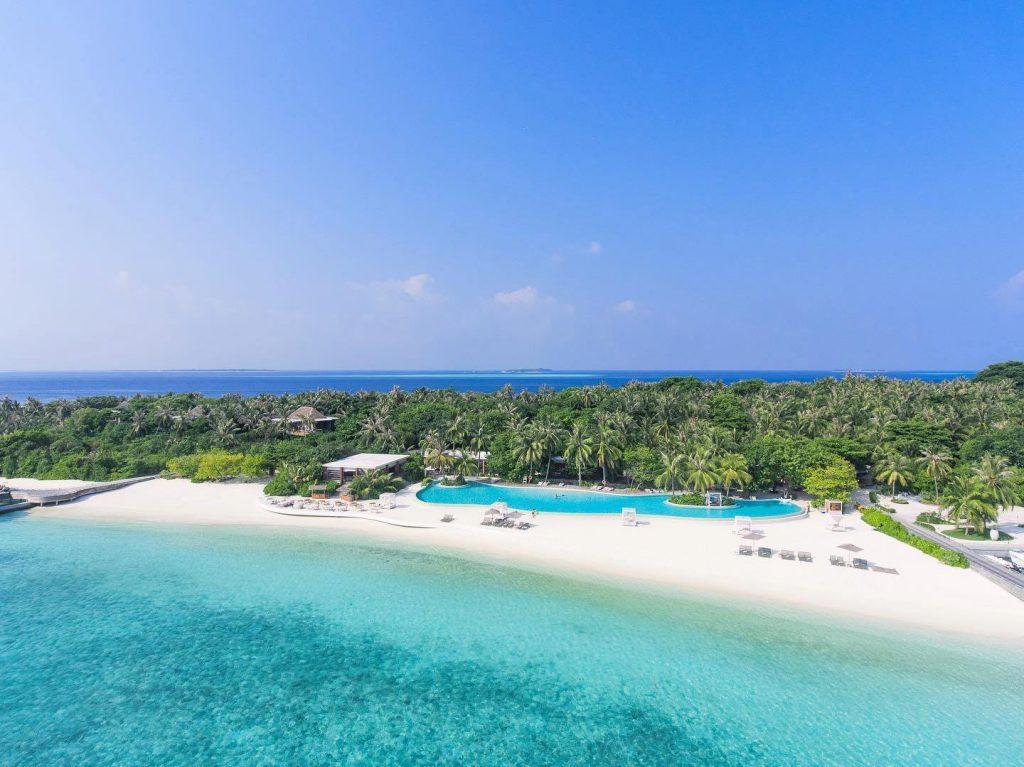 Amilla Fushi Luxury Resort and Residences - Baa Atoll, Maldives - Oceanfront Infinity Edge Pool Aerial