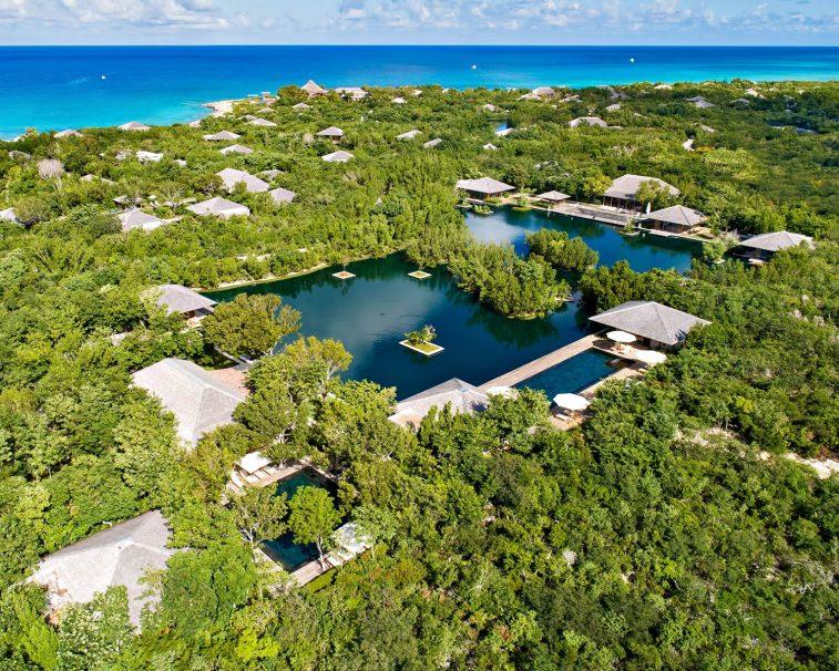 Amanyara Luxury Resort - Providenciales, Turks and Caicos Islands - Reflecting Pond Aerial Ocean View