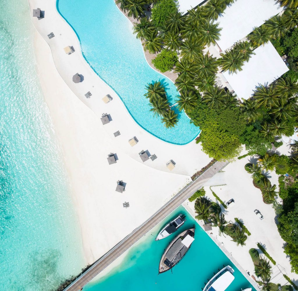 Amilla Fushi Luxury Resort and Residences - Baa Atoll, Maldives - Oceanfront Infinity Edge Pool Overhead View
