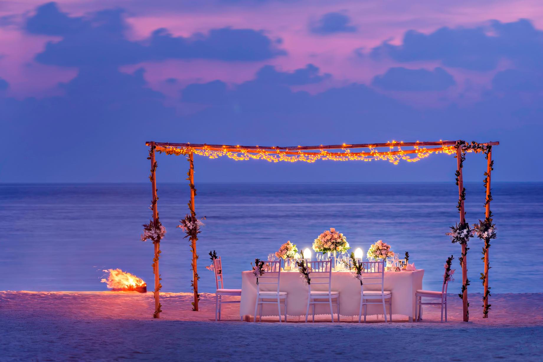 The St. Regis Maldives Vommuli Luxury Resort - Dhaalu Atoll, Maldives - Beach Dinner Night