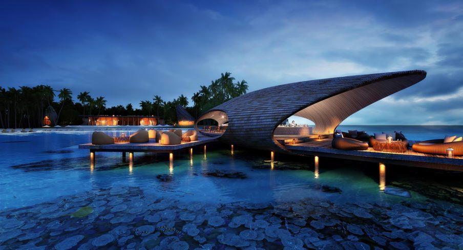 The St. Regis Maldives Vommuli Luxury Resort - Dhaalu Atoll, Maldives - The Whale Bar Deck Night