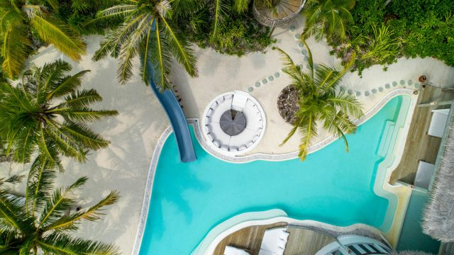 Soneva Jani Luxury Resort - Noonu Atoll, Medhufaru, Maldives - 4 Bedroom Island Reserve Villa Beachfront Pool Water Slide Overhead View