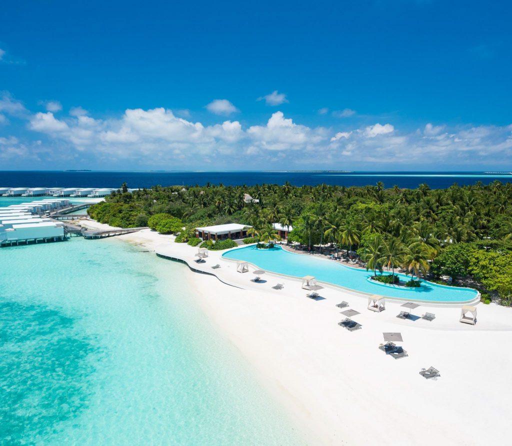 Amilla Fushi Luxury Resort and Residences - Baa Atoll, Maldives - Resort Oceanfront Infinity Edge Pool Aerial