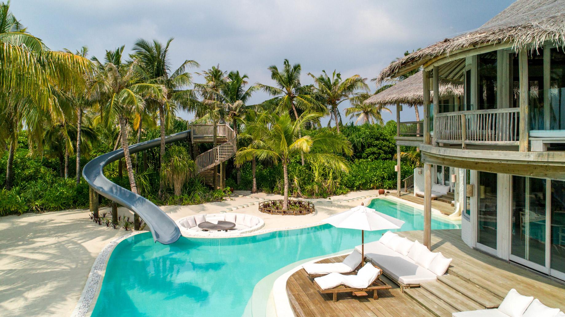 Soneva Jani Luxury Resort – Noonu Atoll, Medhufaru, Maldives – 4 Bedroom Island Reserve Villa Pool Deck Water Slide