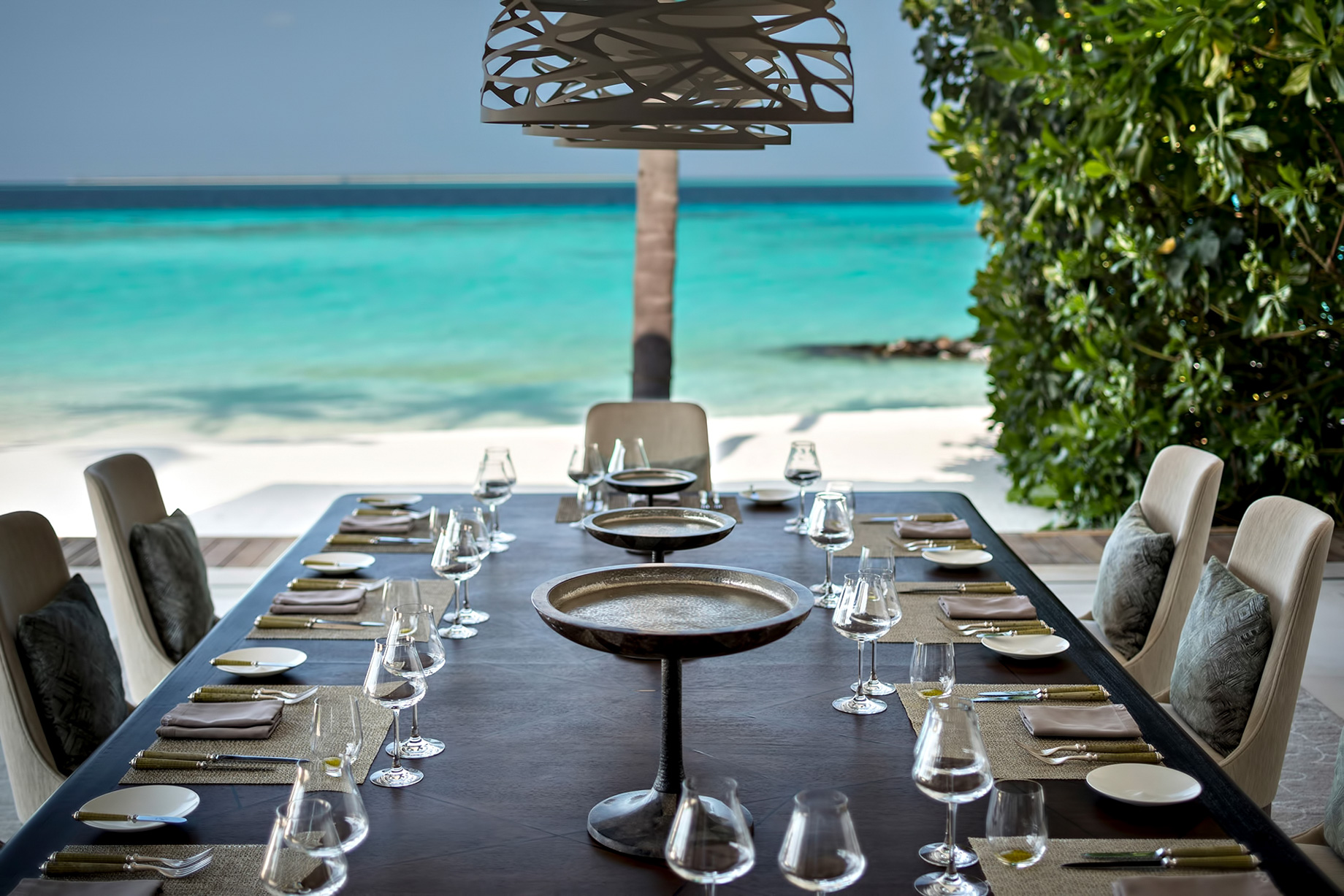Cheval Blanc Randheli Luxury Resort - Noonu Atoll, Maldives - Exclusive Private Island Villa Dining Table Ocean View