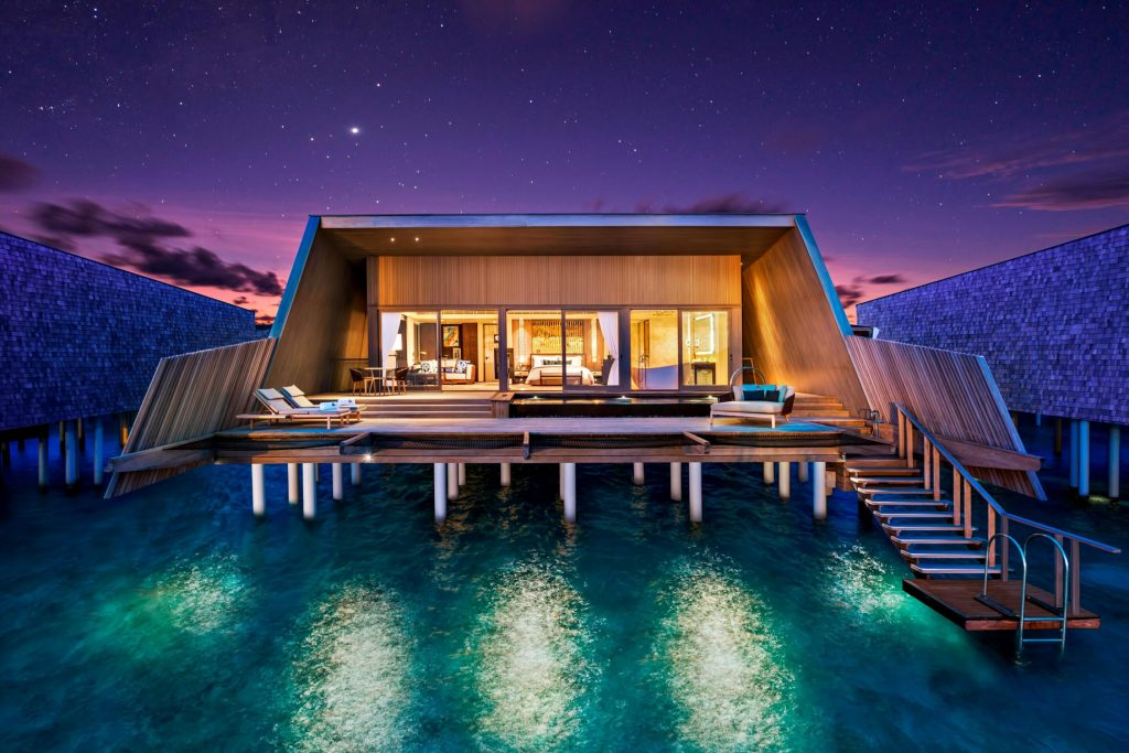 The St. Regis Maldives Vommuli Luxury Resort - Dhaalu Atoll, Maldives - Sunset Overwater Villa Night