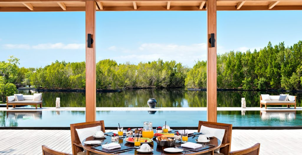 Amanyara Luxury Resort - Providenciales, Turks and Caicos Islands - Villa Dining Area Pool Deck Water View