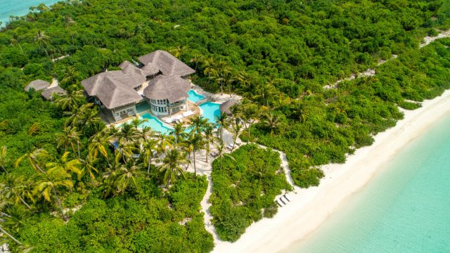 Soneva Jani Luxury Resort - Noonu Atoll, Medhufaru, Maldives - 4 Bedroom Island Reserve Villa Beachfront Aerial View