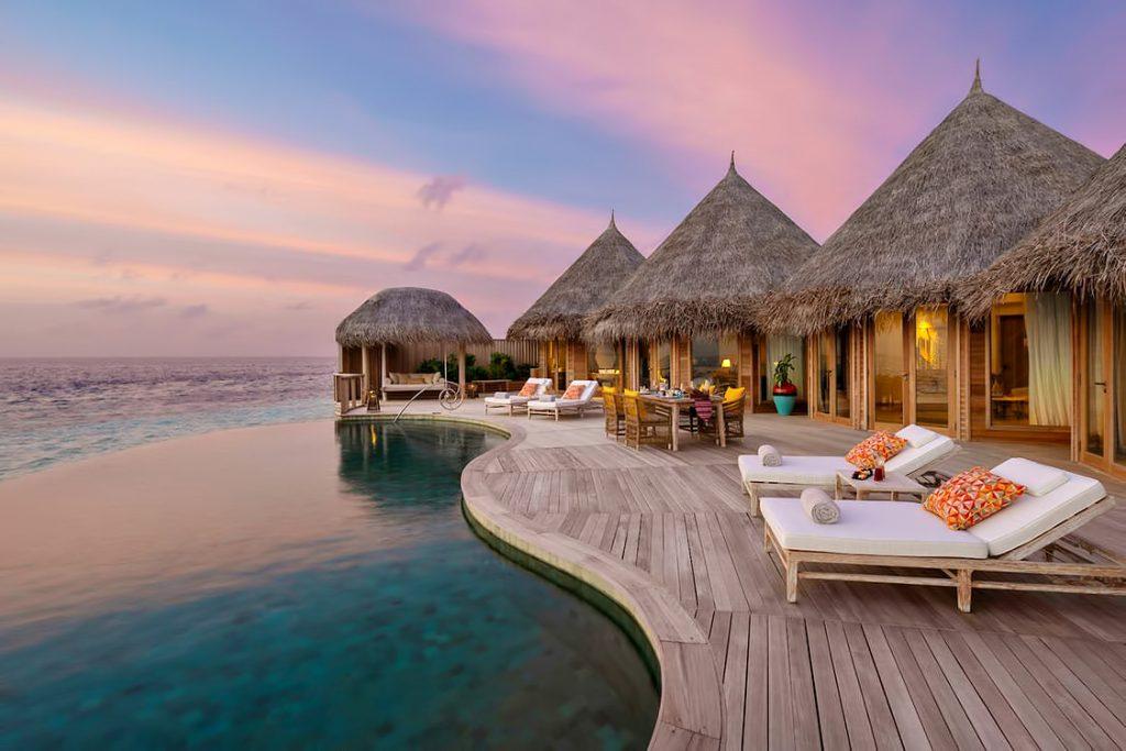 The Nautilus Maldives Luxury Resort - Thiladhoo Island, Maldives - Overwater Residence Infinity Pool Sunset